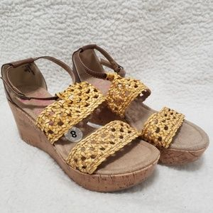 Jellypop | Birch Tan Double Strap Wedges